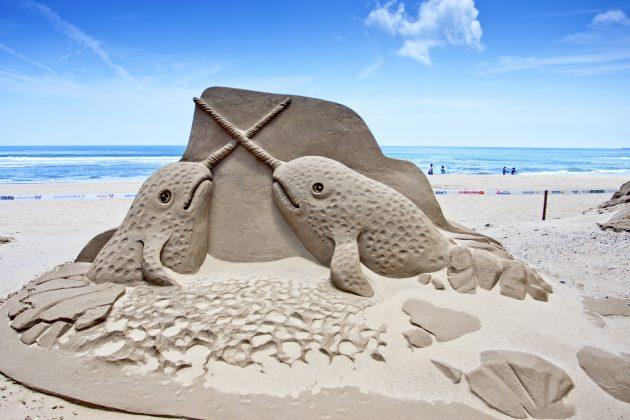 whale sand sculpture